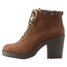Charlotte Russe Tan Sweater-Cuffed Chunky Heel Combat Booties by... found on Polyvore featuring shoes, boots, ankle booties, ankle boot, heels, tan, thick heel booties, tan military boots, tan ankle boots and chunky heel bootie