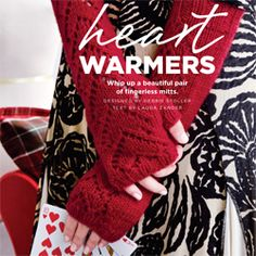 Heart patterned fingerless mitts to knit
