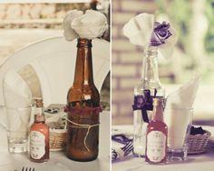 decoração com garrafas de vidro para casamento - Pesquisa Google