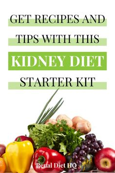 Do you have kidney failure and aren't sure what to do next with your chronic kidney disease diet? This Kidney Disease Diet Starter Kit will give you renal diet tips, renal diet meals / renal diet eating plans, renal diet recipes, and a renal diet shopping list to help with chronic kidney disease.  Learn more here! | Renal Diet Meal Plan | Renal Diet Menu | Kidney Disease Diet Products | Kidney Diet Meal Plan #kidneydisease #kidneydiseasediet #kidneydiseaserecipes #mealplans #RenalDiet