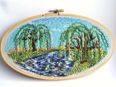 Hand Embroidered Weeping Willow with Blue Sky - colorful decoration, beautiful art, oval hoop art, nature lovers, home decor. $85.00, via Etsy.