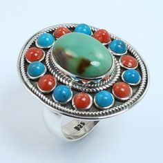 Tibetan Jewelry Ring Size US 7.25 Real TURQUOISE Gemstone 925 Sterling Silver #Unbranded