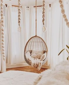 If the canopy can't work with my room- a hanging chair maybe? Room Ideas Bedroom, Bedroom Decor, Cute Room Decor, Aesthetic Room Decor, Swinging Chair, Bedroom Swing Chair, Cozy Room, Dream Rooms, Luxurious Bedrooms