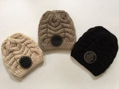 Woman's and Teens Cable Knit Beanie with Your Choice of Infinity Love, Love or Hamsa Leather Patch