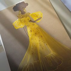 Radiant yellow couture fashion illustration by vross design fashion drawing shoes etsy ideas for 2019 Dress Design Sketches, Fashion Design Sketchbook, Fashion Design Drawings, Fashion Sketches, Fashion Design Portfolios, Fashion Model Drawing, Art Sketchbook, Fashion Drawing Dresses, Fashion Illustration Dresses
