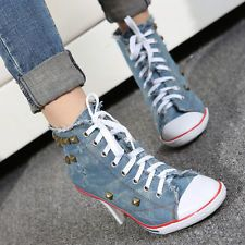e4ec868064b1 Details about New Rivet Womens Denim Canvas High Block Heel Lace Up Sneakers  Shoes High Top sz