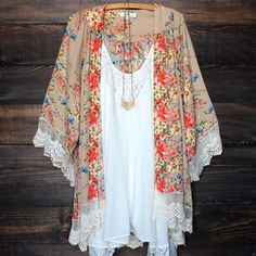 floral printed kimono jacket in sand