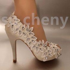 3-4-Salto-Cetim-Branco-Marfim-Renda-Ramo-De-Oliveira-aberto-Toe-sapatos-de-casamento-tamanho-Noiva