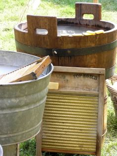 Vintage Laundry Tubs and Washboards
