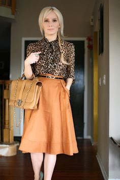 Blouse: Forever Skirt: ASOS, Belt: J Crew, Bag: Lanvin - love the skirt color and cut Cool Outfits, Fashion Outfits, Dressy Outfits, Womens Fashion, Fashion Ideas, Blouse Outfit, Bow Blouse, Orange Skirt, Animal Print Blouse