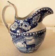 Rare Antique c.1820s Pearlware Medium Dark Blue  Quadrupeds  Creamer of Antelope £39  +P&P USA