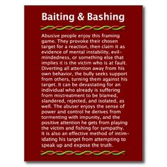 Shop Baiting & Bashing Postcard created by KnowledgePower. Narcissistic People, Narcissistic Behavior, Narcissistic Sociopath, Narcissistic Tendencies, Sociopath Traits, Sociopathic Behavior, Narcissistic Husband, Abusive Relationship, Toxic Relationships