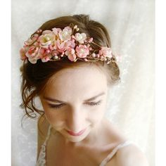 pink cherry blossom hair wreath LOVE SONNET found on Polyvore