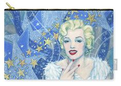 """Marilyn Monroe Pouch Portrait from the """"Old Hollywood"""" series. Marilyn Monroe in white tulle dress and feather boa, a lot of little and big stars and celluloid films as a background. Blue, white, silver and light yellow colors. Artwork was inspired by Andy Warhol's portraits and Edmund Greene's photograph by Marilyn. Celebrity art, fine art portrait, acrylic painting. © Clipso-Callipso / Julia Khoroshikh #Marilyn, #Monroe, #hollywood, #contemporary, #art, #celebrity, #portrait"""