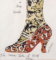 """The Some Like it Hot Shoe,"" Andy Warhol circa offset lithograph and watercolor on paper. Signed lower right and inscribed ""To Tony Curtis,"" ""The Some Like it Hot Shoe,"" ""Andy Warhol. Andy Warhol Museum, Andy Warhol Art, Tony Curtis, Pittsburgh, Pop Art Movement, Some Like It Hot, Mass Culture, Art Graphique, Hot Shoes"