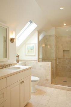 Attic bath configuration. #skylight #bathroom Pacific Ave SF. Photography by Jacob Elliott.
