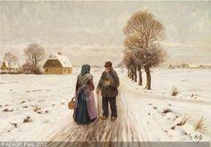 Brendekilde: Vinterlandskab med to gamle på en landevej