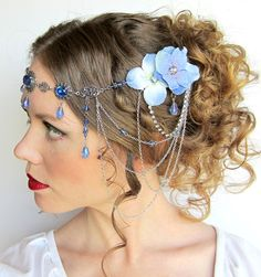 Blue Fairy Circlet Headdress with Flowers by BeasleysWonders, $98.00