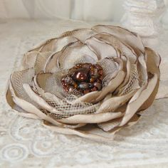 Debutante Layered Flower Brooch Pin Accessory or Hair ❤ by Viridian