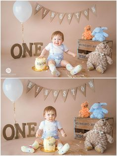 Little boy tapping on his honey pot cake with his pooh bears during his winnie the pooh cake smash. Jacksonville children photographer.