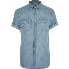 River Island Blue Western short sleeve denim shirt ($56) ❤ liked on Polyvore featuring men's fashion, men's clothing, men's shirts, men's casual shirts, blue, shirts, mens denim shirt, mens button front shirts, mens western shirts and mens casual short-sleeve button-down shirts