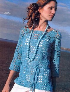 Blue 3/4 Length Sleeve Tunic free crochet graph pattern