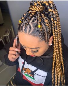 Ghana tissage/Braids/perruque/perruque pour les femmes/ | Etsy Feed In Braids Hairstyles, Braided Ponytail Hairstyles, Iverson Braids, French Braid Ponytail, Half Braid, French Braids, Curly Hair Styles, Natural Hair Styles, Twisted Hair