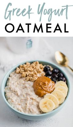 Recipes Snacks Protein Start your morning with a creamy, protein-packed bowl of oatmeal with this easy recipe for Greek yogurt oatmeal! You'll love this delicious combo. Best Oatmeal Recipe, Healthy Oatmeal Recipes, Good Healthy Recipes, Healthy Breakfast Recipes, Healthy Oatmeal Breakfast, Thm Recipes, Breakfast Ideas, Healthy Desayunos, Healthy Meals To Cook