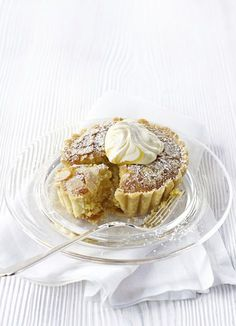 Lemon and almond tarts: If you like Bakewell tart you'll love this lemon version. A crisp shortcrust shell is filled with lemon curd and a rich egg and ground almond sponge. Serve warm straight from the tin or at room temperature with a nice cup of tea.