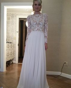 modest wedding dress with long sleeves and a flowing skirt from alta moda. (modest bridal gowns)