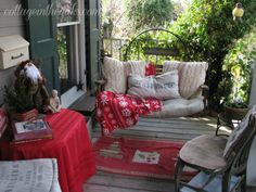Christmas front porch swing