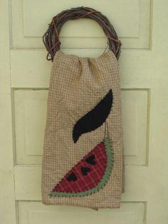Primitive Tea Towel - Crow & Watermelon- Hand Appliqued- Spring/Summer Decor -Wall/ Door Hanging- Door Greeter. $16.95, via Etsy.