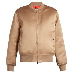 Givenchy Satin bomber jacket (6,710 SAR) ❤ liked on Polyvore featuring outerwear, jackets, tops, padded bomber jacket, givenchy jacket, blouson jacket, flight jacket and padded jacket