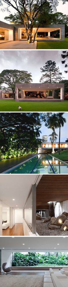 House design - Isay Weinfeld has designed the Grecia House in São Paulo, Brazil Beautiful Architecture, Contemporary Architecture, Modern Contemporary, Residential Architecture, Interior Architecture, Future House, Terrasse Design, Design Exterior, Bungalows