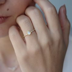 Pear shaped diamond engagement ring bezel setting , simple and elegant, 14K Rose gold