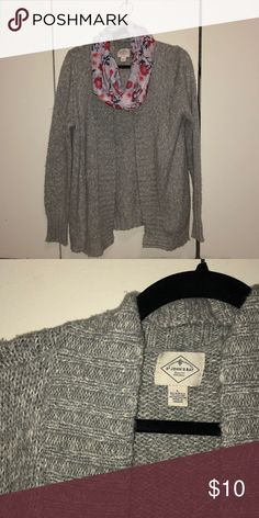 3798a1e7d00 Gray St. John s Bay Cardigan Gray cardigan from St. John s Bay in size  large. Scarf not included with purchase. Stored in a smoke and pet free  environment.