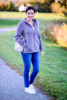 Fall Soccer Mom Outfit: cozy fleece North Face hoodie with Wit & Wisdom skinny jeans & Adidas Superstars