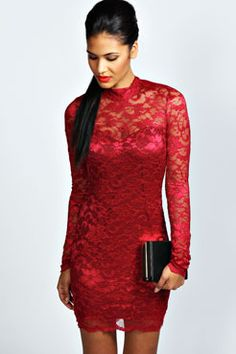 Imogen Lace High Neck Bodycon Dress at boohoo.com