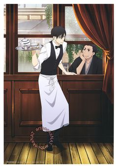 artbooksnat:   Shouwa Genroku Rakugo Shinjuu (昭和元禄落語心中) Kikuhiko and Sukeroku, just enjoying each other's company, in the latest poster from Spoon.2Di Vol. 11 (eBay | Amazon US), illustrated by key animator Tomomi Kimura (木村友美).