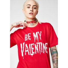Red Be My Valentine Tee (31 CAD) ❤ liked on Polyvore featuring tops, t-shirts, red, graphic printed t shirts, red top, loose fit tees, graphic design tees and red tee