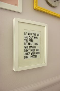 Framed quotes. I'll use pink paper and brown frames with some pretty fonts for…