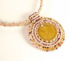 Beaded Macrame Necklace Yellow Jasper Pendant by neferknots, $95.00