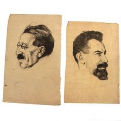 Hermann Struck - David Frishman and Zalman Shneur, Lithographs.David Frishman, Hand signed by both Frishm. Israel, Auction, Amp, Portrait, Men Portrait, Portrait Illustration, Portraits