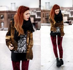 Lua P - Orphans Arms T Shirt, Evil Twin Velvet Leggings, Vintage Jacket - LANCASTER WILL RISE AGAIN