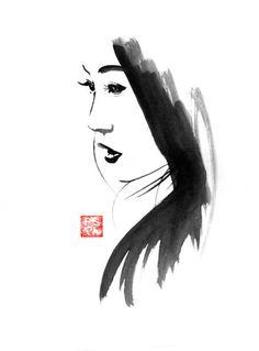 Pechane Sumi-e Paintings woman