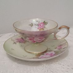Vintage Lefton China Porcelain Footed Tea Cup and Saucer Lusterware Pink Roses and Gold Trim Hand Painted