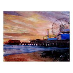 Santa Monica Pier At Sunset Postcard - tap, personalize, buy right now! #Postcard #santa #monica #pier #l.a. #los Santa Monica, Painting Frames, Painting Prints, Art Print, Frames On Wall, Framed Wall Art, Canvas Art, Canvas Prints, Canvas Size