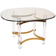 Lucite and Brass Dining Table by Charles Hollis Jones | From a unique collection of antique and modern dining room tables at https://www.1stdibs.com/furniture/tables/dining-room-tables/