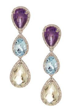 Multicolor Gemstone and Diamond Teardrop Earrings by Best Silver Inc. on HauteLook