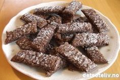 Sjokoladesnitter Almond, Cooking Recipes, Sweets, Candy, Cookies, Drink, Baking, Breakfast, Christmas